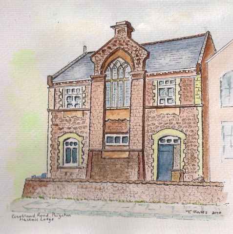 Masonic Hall, Courtland Road, Paignton - Water colour by Bro. Ted Jones - 2010